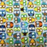 100% Cotton Fabric Timeless Treasures Blue Green Owls In Lines Birds Animals