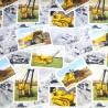 100% Cotton Fabric Caterpillar Digger Photos Dump Trucks Construction Machines
