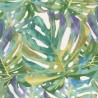 Cotton Rich Linen Look Fabric Green Tropical Palm Leaves Upholstery Curtain