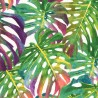 Cotton Rich Linen Look Fabric Multi Tropical Palm Leaves Upholstery Curtain