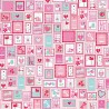 100% Cotton Fabric Riley Blake Lovey Dovey Hearts Stamps Love Valentines Romance