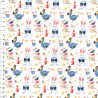 100% Cotton Fabric Digital John Louden Alice In Wonderland Rabbits Cakes