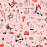 100% Cotton Fabric Digital Little Johnny Range Doodle Love Hearts Valentines
