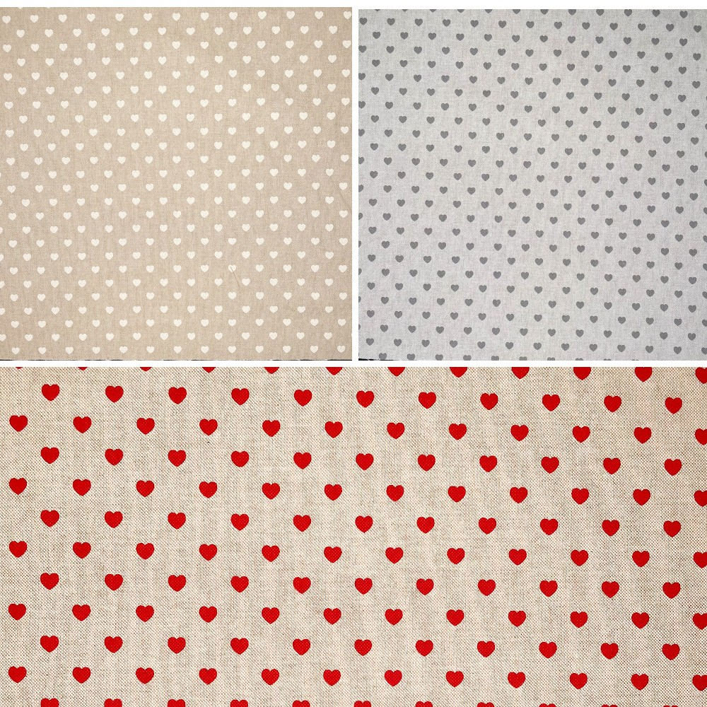 Lines Of Love Hearts Cotton Rich Linen Look Upholstery Fabric