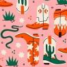 100% Cotton Fabric Digital Little Johnny Range Wild West Cowboy Boots Snakes