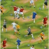 100% Cotton Fabric Nutex Football Fever Sports Players Soccer Game Sport Event