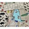 4 x Cotton Rich Linen Look Fabric Surprise Bundle Fat Quarters Floral Animal