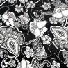 100% Cotton Poplin Fabric Black & White Paisley Monochrome Flower 145cm Wide