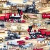 100% Cotton Fabric Timeless Treasures Steam Diesel Trains Locomotive Railway