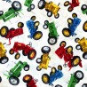 100% Cotton Fabric Timeless Treasures Colourful Vintage Tractors Vehicle Farm