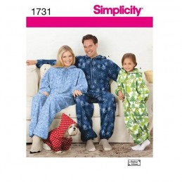 Simplicity Sewing Pattern 1731 Child's, Teens' and Adults' Fleece Jumpsuit