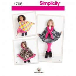 Simplicity Child's Fleece Capes Sewing Pattern 1706