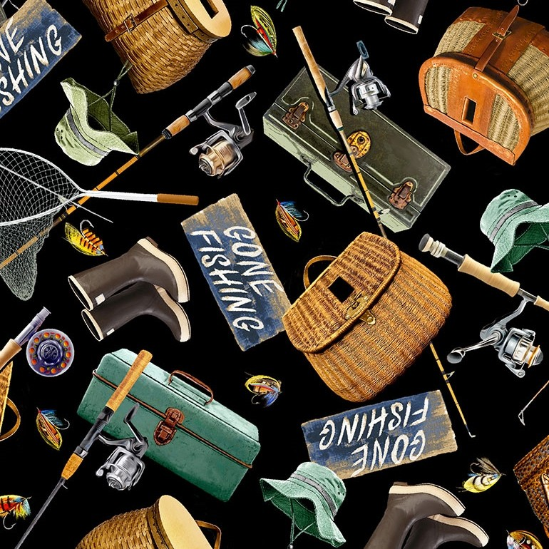 100% Cotton Fabric Timeless Treasures Go Fishing Gear Fisherman Hat Boots Rod