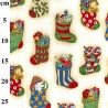 100% Cotton Fabric Rose & Hubble Christmas Stockings Presents 135cm Wide