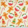 Polycotton Fabric Gingerbread Christmas Candy Canes Xmas Pudding Tree