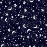 Polycotton Fabric Christmas Eve Night Sky Moon Stars Snow