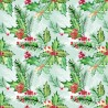 100% Cotton Fabric Digital Christmas Holly Berries Traditional Floral 150cm Wide