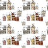 100% Cotton Fabric Digital Christmas Traditional Winter Town Scene 150cm Wide