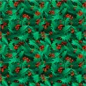 100% Cotton Fabric Digital Christmas Bunched Holly Berries Traditional Floral