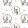 100% Cotton Digital Fabric Beatrix Potter Peter Rabbit Christmas Wreath