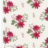 100% Cotton Fabric Christmas Critters Poinsettia Berries Floral