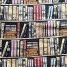 100% Cotton Fabric Vintage Antique Books Library Book Shelf