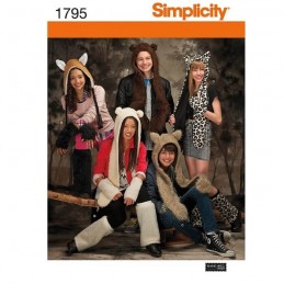 Simplicity Misses', Men's & Teens' Animal Hats Sewing Pattern 1795