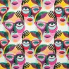 100% Cotton Fabric Digital Little Johnny Range Abstract Painted Faces