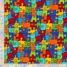 100% Cotton Fabric Timeless Treasures Colourful Puzzle Jigsaw Children Kids