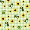 100% Cotton Fabric Springs Creative John Deere Sunflower Tractor Gingham Farm