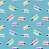 100% Cotton Fabric Kennard & Kennard Retro Tossed Caravans Aqua
