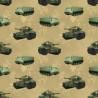 100% Cotton Fabric Kennard & Kennard Battlezone Army Tanks APC Tan