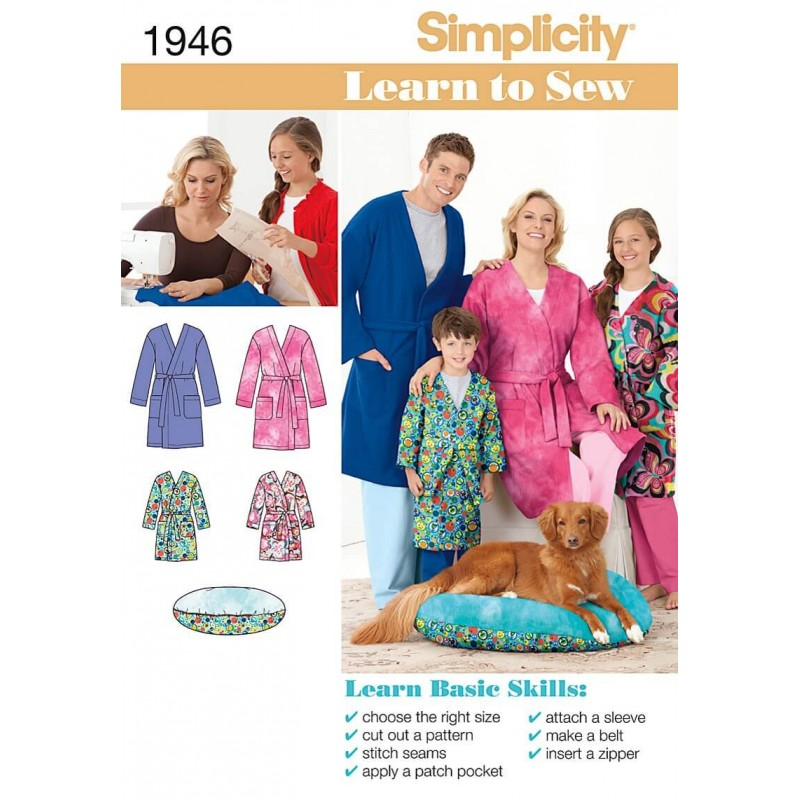 Learn to Sew Child\'s Teen\'s & Adults\' Robe Fabric Sewing Patterns 1946