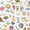 100% Cotton Digital Fabric Little Johnny Magic Wizard Harry Potter Spells
