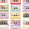 100% Cotton Digital Fabric Little Johnny Retro Cassette Tapes Music Vintage