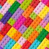 100% Cotton Digital Fabric Little Johnny Rainbow Lego Building Bricks Blocks