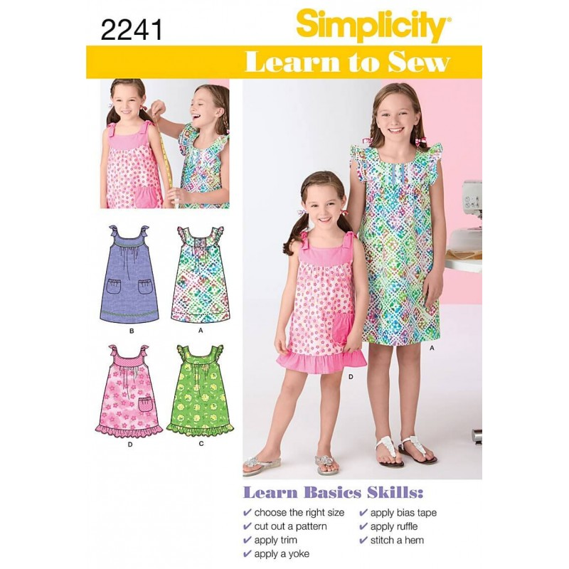 Learn to Sew Child\'s & Girl\'s Dresses Fabric Sewing Patterns 2241