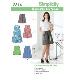 Simplicity Sewing Pattern 2314 Misses' Learn To Sew Skirts Fabric