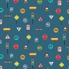 100% Cotton Fabric Nutex Around Town Roadworks Signs One Way Stop Exit