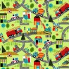 100% Cotton Fabric Nutex Around Town Car Fire Engine Ambulance Vehicle