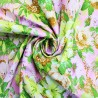 100% Cotton Poplin Fabric Tropical Floral Flower Buds Leaves River View