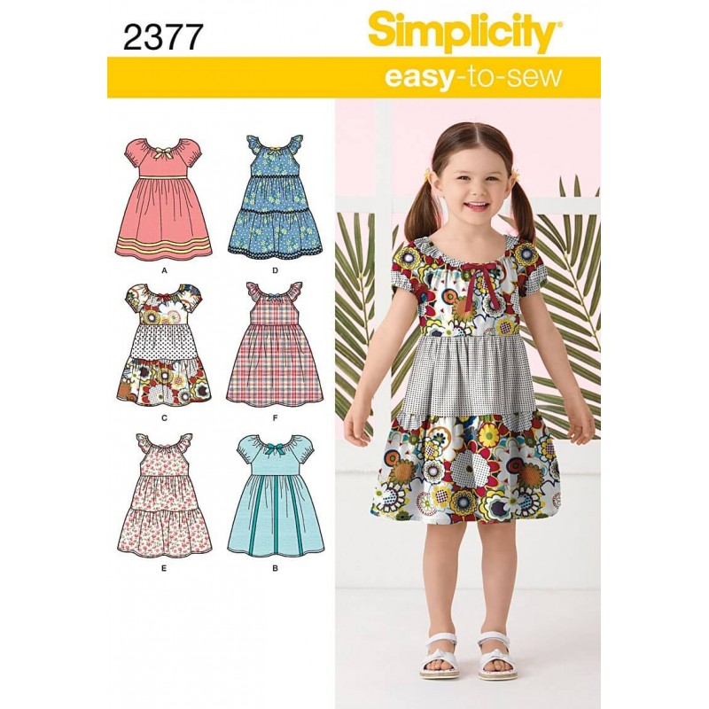 Simplicity child 39 s dresses dress fabric sewing patterns 2377 for Children s cotton dress fabric