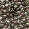 Polycotton Fabric Skulls Roses Floral Flower Halloween Day of the Dead