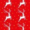 Polycotton Fabric Christmas Leaping Reindeer Winter Starry Sky Stars Festive