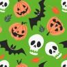 Polycotton Fabric Halloween Spooky Looky Horrors Pumpkins Skulls Bats Leaves