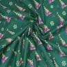 100% Cotton Poplin Fabric Christmas Trees Rainbow Metallic 135cm Wide