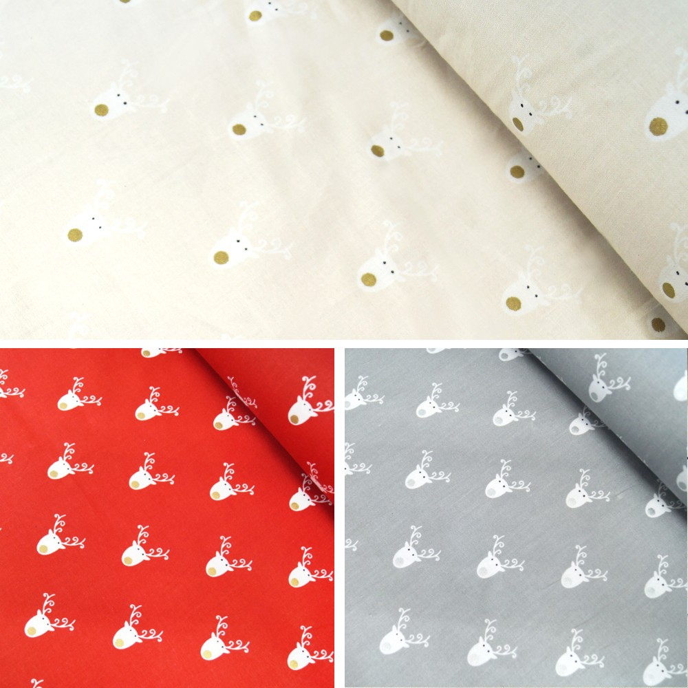100% Cotton Fabric Lifestyle Christmas Reindeer Faces Glitter Noses Cream