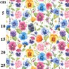 100% Cotton Digital Fabric Rose & Hubble Flowers Pansy Pansies Floral 150cm Wide