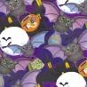 100% Cotton Fabric Springs Creative Halloween Happy Haunting Bats Trick or Treat