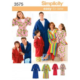 Miss/Men/Child Sleepwear Simplicity Fabric Sewing Patterns 3575